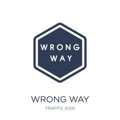 Wrong Way sign icon. Trendy flat vector Wrong Way sign icon on white background from traffic sign collection