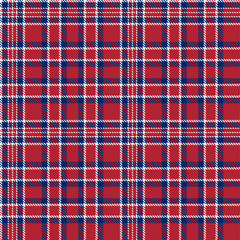 Patriotic Tartan  of White , Blue, Red Seamless Patterns