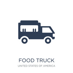 Food truck icon. Trendy flat vector Food truck icon on white background from United States of America collection