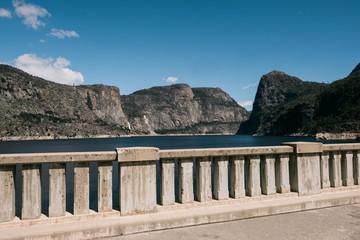 Stone fence against landscape