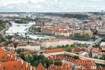 View to Prague and Vltava River with its Bridges