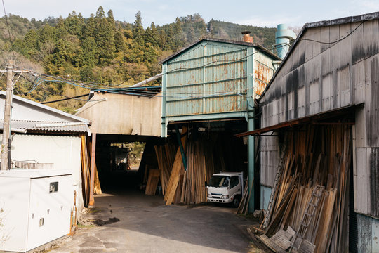 view of wood saw mill japan in japanese country side remote region keyso valley hiking