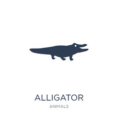 alligator icon. Trendy flat vector alligator icon on white background from animals collection