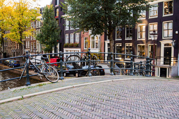 Amsterdam Holland, the old city near the canals. Concept life in the city.
