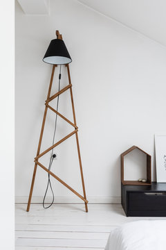 Modern lamp in minimalist interior