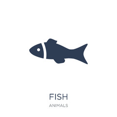 Fish icon. Trendy flat vector Fish icon on white background from animals collection