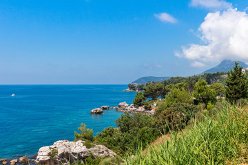 Adriatic sea coastline with turquoise water in Montenegro, nature landscape, vacations to the summer paradise