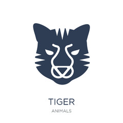 Tiger icon. Trendy flat vector Tiger icon on white background from animals collection