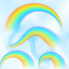 Rainbow in the blue sky among the light clouds. Rain bow realistic vector illustration with mesh brushes included