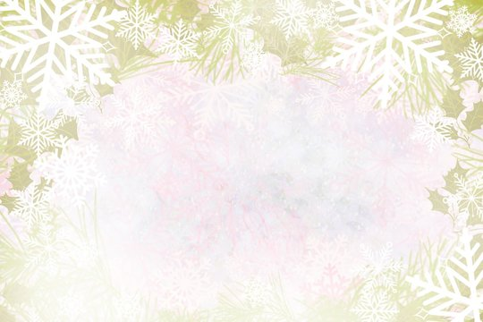 Frosty winter wonderland snowflake marbled watercolor background winter snowflake pine holly border background of lovely colors