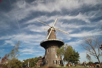 Windmill De Valk in the inner city of Leiden in the Netherlands, windmill have a museum in it and is part of the water works