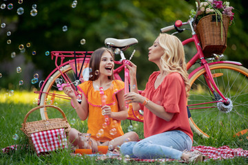 Young family enjoying in park