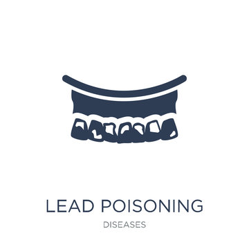 Lead poisoning icon. Trendy flat vector Lead poisoning icon on white background from Diseases collection