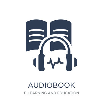 Audiobook icon. Trendy flat vector Audiobook icon on white background from E-learning and education collection