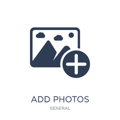 add photos icon. Trendy flat vector add photos icon on white background from general collection