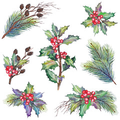 Set of Christmas branches with holly berry plant, pine, dry twigs and cones. Watercolor illustration. Isolated elements for design.