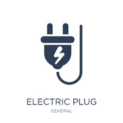 electric plug icon. Trendy flat vector electric plug icon on white background from general collection