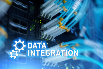 Data integration information technology concept on server room background.