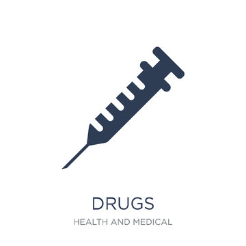 Drugs icon. Trendy flat vector Drugs icon on white background from Health and Medical collection