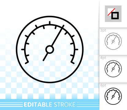 Barometer simple black line vector icon