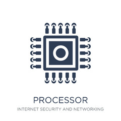 Processor icon. Trendy flat vector Processor icon on white background from Internet Security and Networking collection