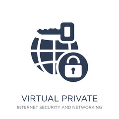 Virtual private network icon. Trendy flat vector Virtual private network icon on white background from Internet Security and Networking collection