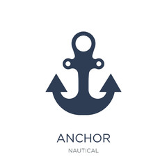 Anchor icon. Trendy flat vector Anchor icon on white background from Nautical collection