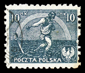 MOSCOW, RUSSIA - SEPTEMBER 15, 2018: A stamp printed in Poland shows Sowing man, serie, circa 1922