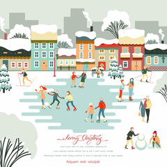 Merry Christmas winter poster with people walking in city park.