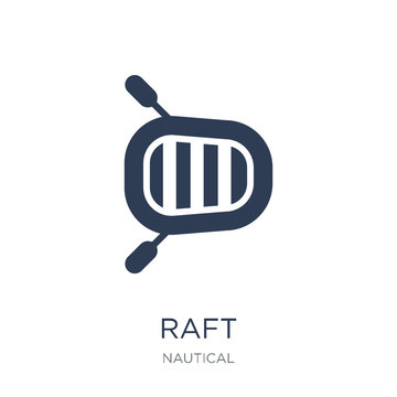 Raft icon. Trendy flat vector Raft icon on white background from Nautical collection