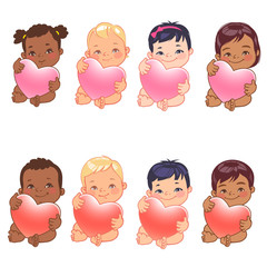 Set of round user pics with babies. Cute little baby girl and boy of various nations hold heart. Asian, african, caucasian, hispanic, arabic, indian, Chinese children. Avatar for social media blog.