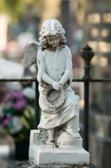 Closeup of stoned angel praying on tomb in cemetery