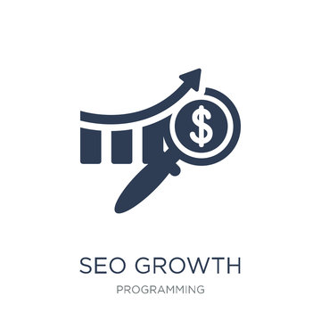 seo growth icon. Trendy flat vector seo growth icon on white background from Programming collection