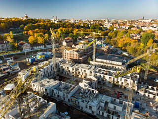 Aerial view of construction site in the city of Vilnius, Lithuania.