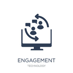 Engagement icon. Trendy flat vector Engagement icon on white background from Technology collection