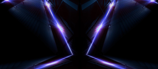 Neon lines on a dark background. Space background, lights space units. Abstract neon background, cosmic tunnels, corridors, lenses, glare, laser beams. The virtual reality