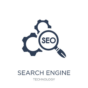 Search engine optimization icon. Trendy flat vector Search engine optimization icon on white background from Technology collection