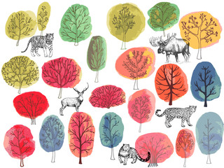 Set of hand drawn sketch style animals and colorful trees isolated on white background. Vector illustration.