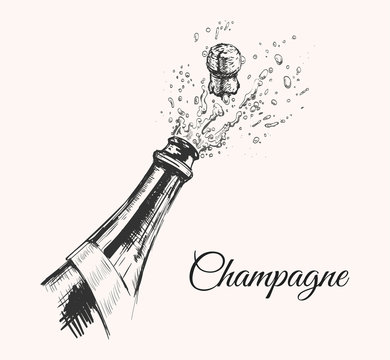 Hand drawn Illustration of Champagne explosion. Hand drawn Illustration of Champagne explosion.
