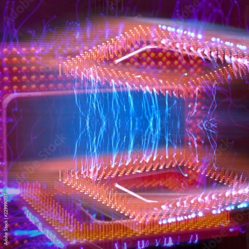 Futuristic background  Burning two overload CPU overheating  Blue
