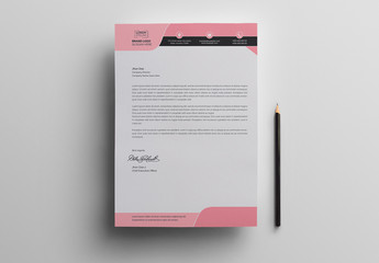Letterhead Layout with Pink Header and Footer