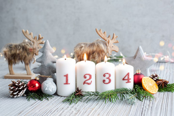 Adventskarte Beton Look Kerzen