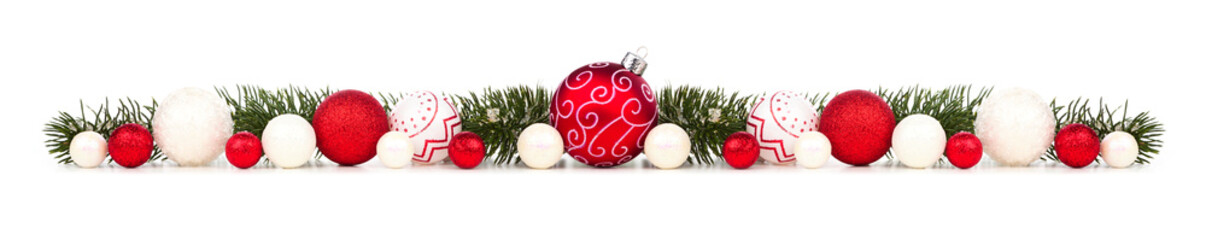 Long Christmas border of red and white ornaments and branches isolated on a white background