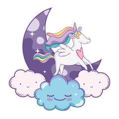 Unicorn on clouds cute cartoons