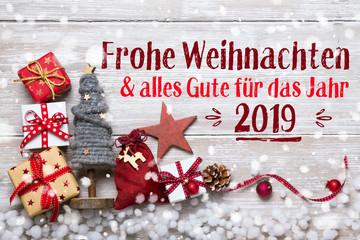 Frohe Weihnachten und alles Gute für das Jahr 2019  - Grußkarte