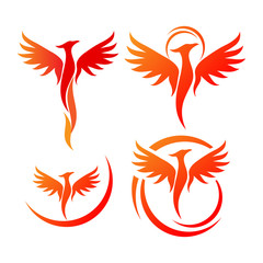 Phoenix Bird Logo Design Vector Illustration