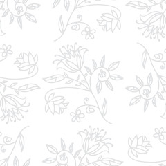 Doodle abstract floral seamless pattern with flowers, branches and leaves. Vector illustration.