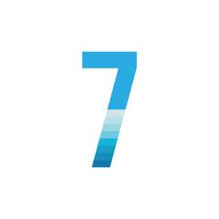 Number SEVEN with sea wave logo design