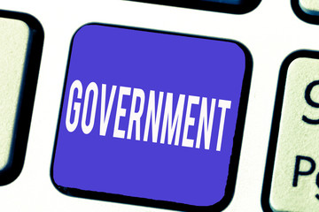 Word writing text Government. Business concept for Group of showing with authority to govern country state company.