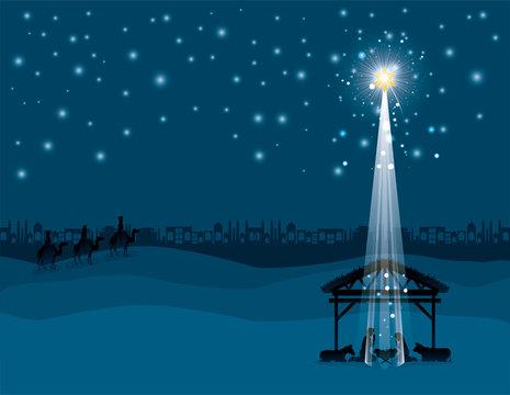 christmas desert scene with holy family in stable